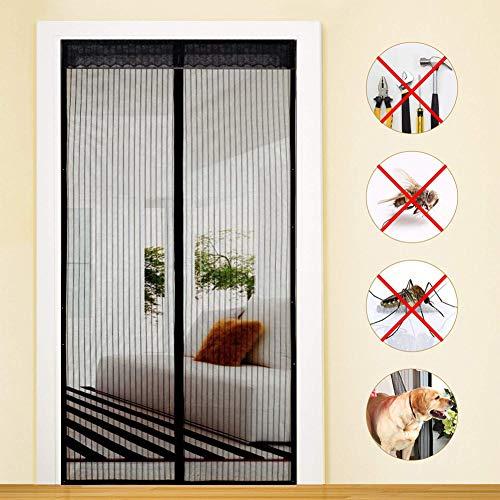 MENGH Moustiquaire fenetre magnetique 220x190cm Rideau Porte Anti Insectes Fermeture Automatique Facile pour Enfants et Animaux Convient à la Taille Noir A