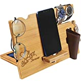 Valentine's Day Gift for Him - Wood Phone Docking Station for Men Personalized - Anniversary Gifts for Husband Boyfriend - Wooden Organizer Nightstand Organizer