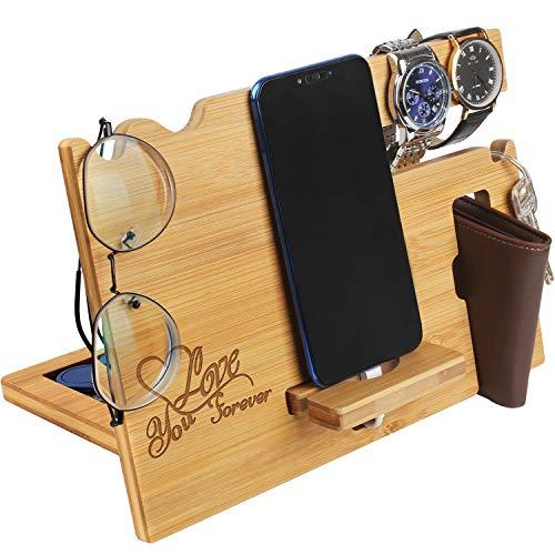 Valentine's Day Gift for Him - Wood Phone Docking Station for Men Personalized - Anniversary Idea for Husband Boyfriend - Wooden Organizer Nightstand Organizer