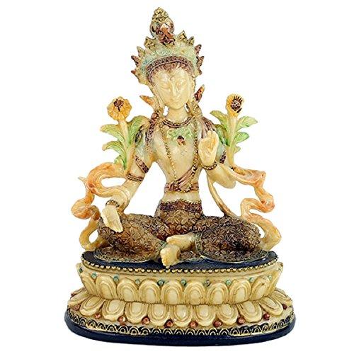 Statue Tare verte 13 x 9 x 17 cm Poids 512 g principe féminin Bouddhiste mère de la perfection, connaissance de la déesse de la compassion