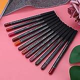 12 colores/juego de delineador de labios, lápiz delineador de labios, lápiz delineador de ojos, herramienta cosmética de larga duración, impermeable para mujeres