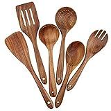 Set di 6 utensili da cucina in legno, set di 6 utensili da cucina antiaderenti per pentole in legno, forchetta, paletta, mestolo, cucchiai filtro (6)