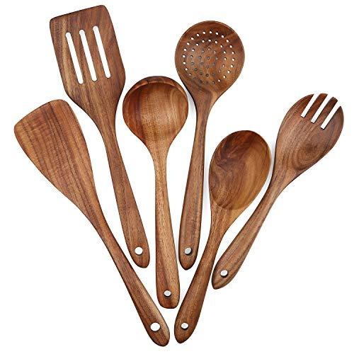 Set di utensili da cucina in legno, 6 pezzi, set di utensili da cucina per pentole antiaderenti, spatola, forchetta, spatola, cucchiaio per zuppa, cucchiaini