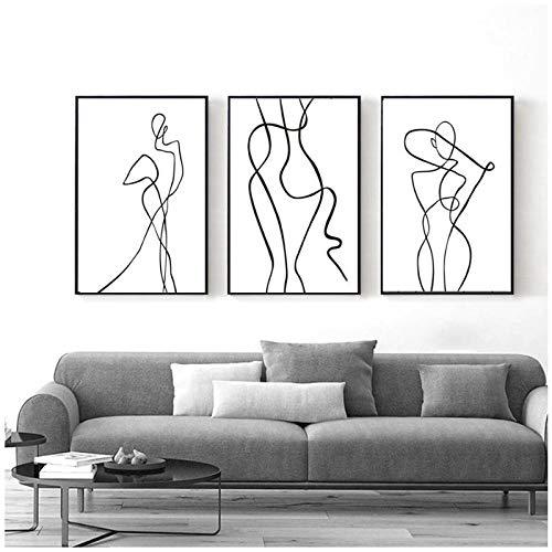 xwwnzdq Abstrakte Kurve Figur Schwarzweiss Leinwand Druck Gemälde Wandkunst Bild für Wohnzimmer Wohnkultur 40x60cmx3 Ungerahmt
