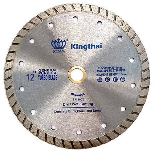 Kingthai 12 Inch Turbo Continuous Rim Concrete Diamond Saw Blade with 1'-7/8' Arbor for Masonry Stone