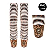 100 Pack Quality Disposable Paper Hot Coffee Cups, Perfect For Hot Drinks Tea & Coffee, Coffee Shops And Bars (10 oz)