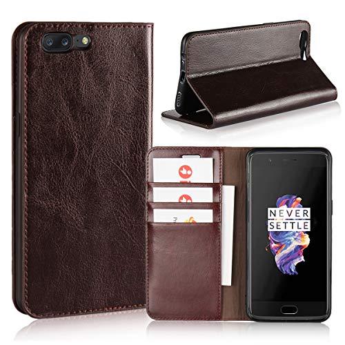 Copmob OnePlus 5 Hülle, Handyhülle Premium Slim Schutzhülle Echtleder Hülle Ledertasche mit [Premium Leder] [Kartenfach] [Standfunktion] für OnePlus 5, Dunkelbraun