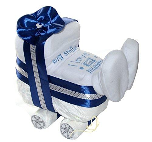 Windelwagen blau - 3 tlg Geschenk Geburt zur Junge - Baby Windeltorte - dubistda© handmade