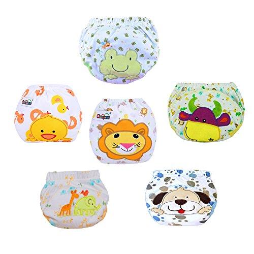 LSERVER LSERVER-6Pcs Nette Baby-Kind-Kind-Training Pants Waschbare Cartoon Pattern Tuch-Windel-Windel-Unterwäsche