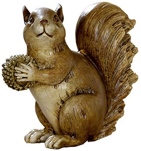 dekojohnson eekhoorntje decoratie eekhoornfiguur met eikel voering en winterdecoratie herfstdecoratie bruin 13,5x12x13 cm groot