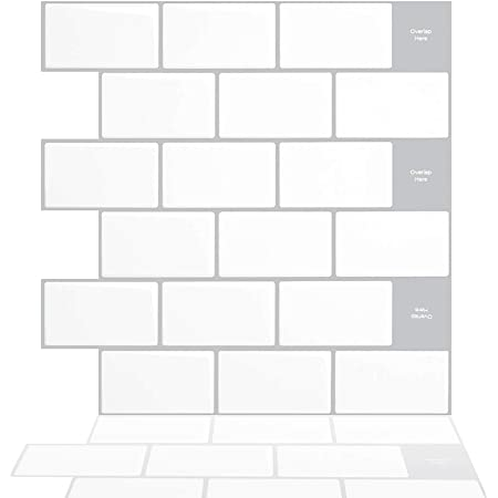 """Tic Tac Tiles 12""""x 12"""" Peel and Stick Self Adhesive Removable Stick On Kitchen Backsplash Bathroom 3D Wall Sticker Wallpaper Tiles in Subway Designs (Mono White, 10)"""