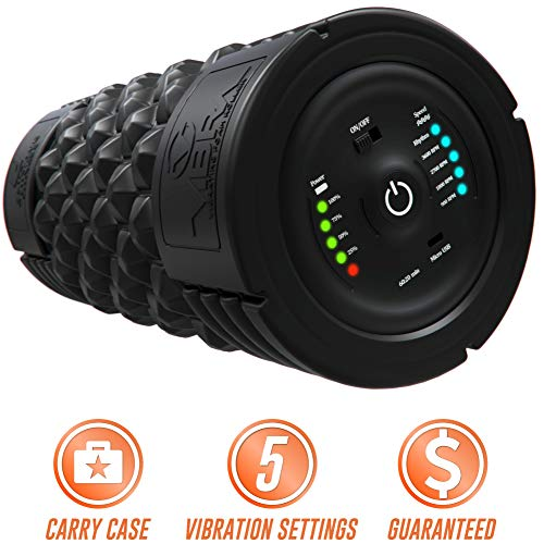 Epitomie Fitness VIBRA Vibrating Foam Roller - Next Generation Electric Foam Roller with 5 Speeds Settings | Includes Carry Case & Vibration Foam Rolling Training (Black)