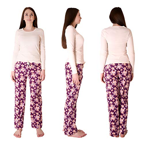 Cherokee Women's 2-Piece Longsleeve and Pajama Sleepwear Set, Multicolor, Water Color Floral, Large