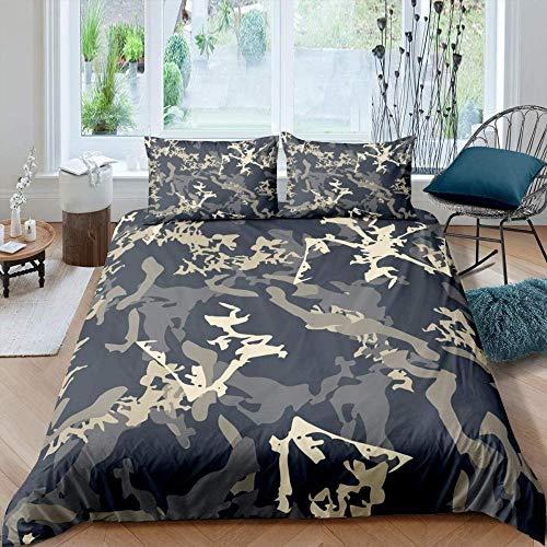 HKDGHTHJ Children's Quilt 3D Creative Picture Abstract camouflage christmas animal elk pattern 260x230 CM Bedding Set Comforter Cover Bed Sheet Pillowcase Bed Linens for Kids Girl Twin Full Queen Kin