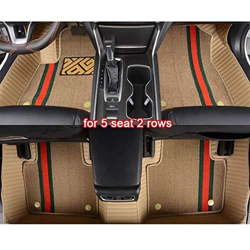 RVTYR For BMW E30 E34 E36 E39 E46 E60 E90 F10 F30 x1 x3 x4 x5 x6 1/2/3/4/5/6/7 Serie, Piso del Coche esteras esteras de Encargo del pie Doble (Color : 5 Seats 2 Rows a)