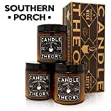 CANDLETHEORY Scented Candle Gift Set with Crackling Wood Wicks - 3, 4 oz Candles - Tall Cotton, Fresh Gardenia, Sweet Tea - Designed for Both Men and Women but Perfect Man Cave Stuff