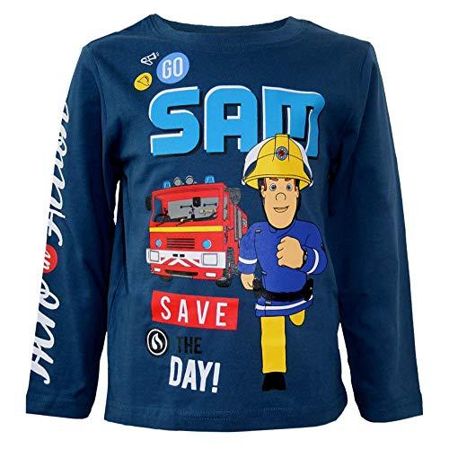 Feuerwehrmann Sam Jungen Langarmshirt Größe 98-116 | Kinder Shirt, Größe:110, Farbe:Blau