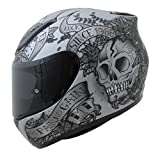 MT Venganza Cascos Integrales de Moto Motocicleta Bicicleta Calavera y Rosas Gris/Negro XL(61-62cm)