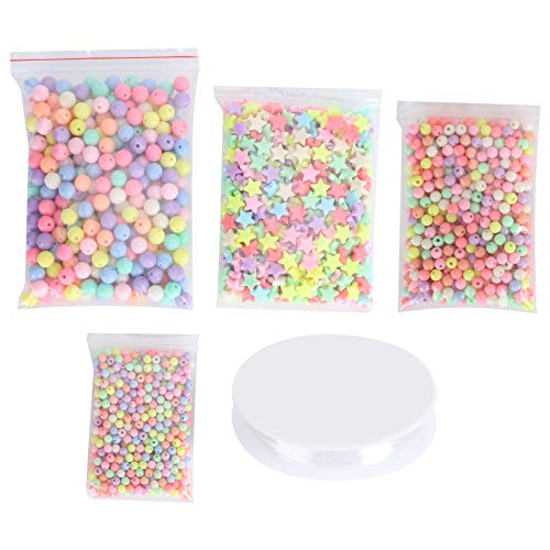 DIY Handmade Beads Colorful Acrylic Beads with Fishing Line Light Weight for DIY Crafts Necklaces Jewelry Making Bracelets