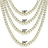 Gold Tone One Row Tennis Necklace/Bracelet 18-24 Inch Bling 4MM ICY Stone Prong Set Hip Hop (20 Inch)
