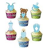 Baby Boy – Paquete azul – Decoración comestible para cupcakes – Baby Shower – bautizo – revelación de género – (Paquete de 12)