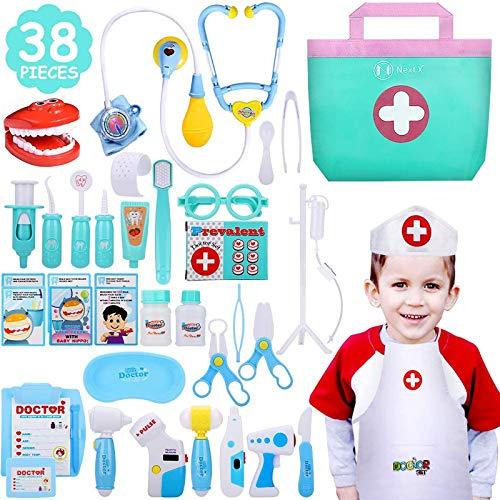 NextX Kit Medico Giocattolo – Set di 38 Pezzi con Custodia – Gioco di Ruolo Educativo per Bimbi Piccoli – Regalo Perfetto per Bambini e Bambine