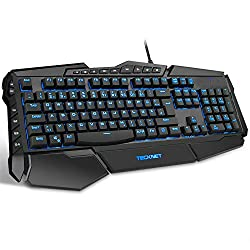 TECKNET Gaming Tastatur(QWERTZ), PC Gaming Keyboard Anti-Ghosting USB Wired Gaming Tastatur Programmierbar LED Beleuchtete, Tastatur Für Windows 95, 98, Me, NT, XP, Vista, 8, 10