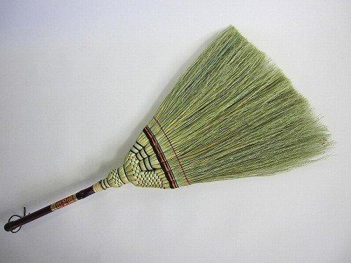 高級手編み座敷箒 短柄箒 日光No.1(特上)草の量が多くなってます。 昔ながらの座敷ほうき 草ホーキ ほーき 畳