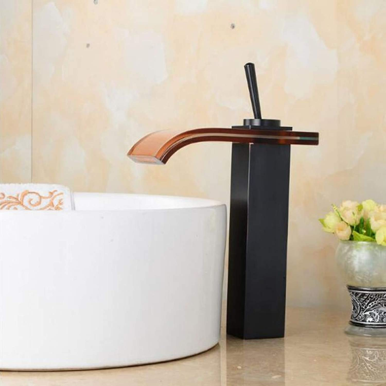 YHSGY Küchenarmatur Becken Wasserhahn Messing Bad Wasserhahn Einzigen Griff Schwarz l Gebürstet Waschbecken Wasserhahn Wasserfall Wasserhahn