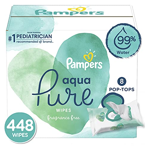 Baby Wipes, Pampers Aqua Pure Sensitive Water Baby Diaper Wipes, Hypoallergenic and Unscented, 8X Pop-Top Packs, 448 Count