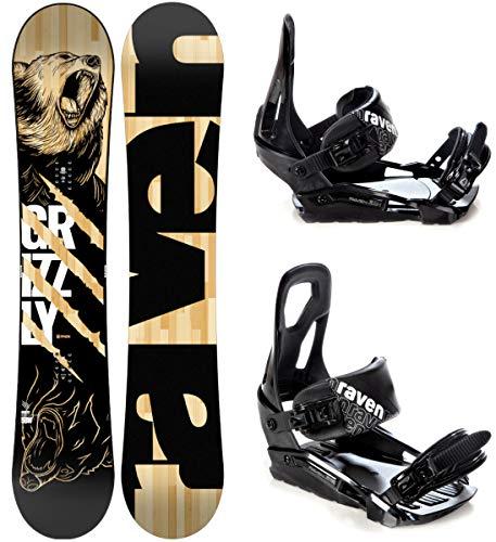 RAVEN Snowboard Set: Snowboard Grizzly + Bindung s200 (154cm + s200 Black M/L)