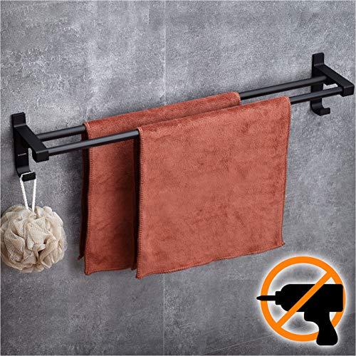 Wangel Adhesivo Fuerte Doble Toalleros de Barra 60cm, Pegamento Patentado + Autoadhesivo, Aluminio, Acabado Mate, Negro
