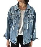 JudyBridal Oversize Denim Jacket for Women Ripped Jean Jacket Boyfriend Long Sleeve Coat Blue L