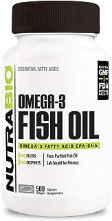 NutraBio Omega 3 Fish Oil Supplement (500 Softgels)