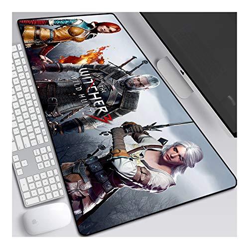 ITBT The Witcher Tapis de Souris Gaming XXL, 900x400mm, Anime Mouse Pad - Surface spéciale améliore la Vitesse et la précision, 3mm Base en Caoutchouc Antidérapant Surface-pour Ordinateur et PC, F