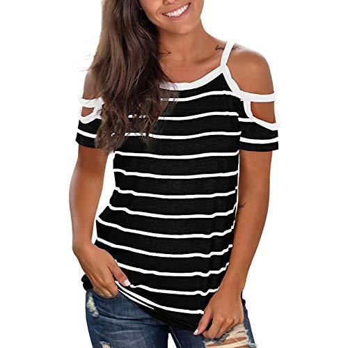 YANFANG Camiseta para Mujer, Moda Mujer O-Cuello Casual Manga Corta Rayas Estampado Camisas Blusas Superiores,Tops Sueltos de Manga Larga Casuales