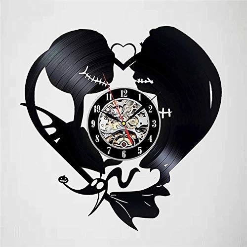 LKJHGU Disco de Vinilo Reloj de Pared diseño Moderno decoración de Pesadilla navideña Disco de Vinilo Colgante Sala de Estar Dormitorio decoración Reloj silencioso