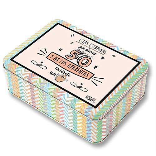Regalo Mujer 50 años. Pack Caja metálica 18x13x6 cm, Bolsa 35x40 cm, Pulsera, libreta A-6 y boli. Ya Tienes 50 y no los aparentas