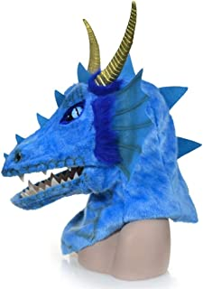 Masks Carnival Holiday Party mask Dragon Fur mask Halloween Party Accessories Furry Animal Masks ( Color : Blue )