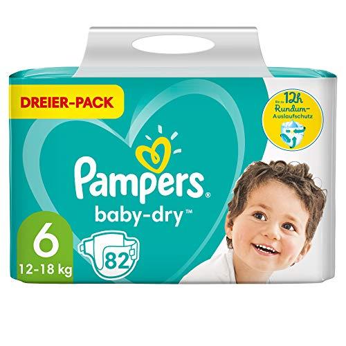 Pampers Windeln Größe 6 (13-18kg) Baby Dry, 82 Stück, Bis Zu 12Stunden Rundum-Auslaufschutz