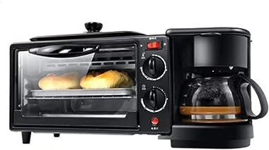 Compact Fast Breadmaker, Multi-function Bread Machine oven Coffee Machine Household Appliances Three-in-one Mini Convenient Breakfast Machine, 1050W Black