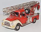 JS GartenDeko Blechauto Nostalgie Modellauto Oldtimer Automarke Opel Blitz Feuerwehr mit Drehleiter aus Blech L 34 cm