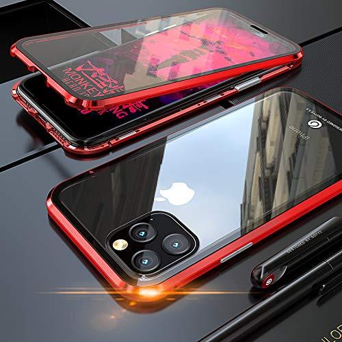 DoubTech Custodia per iPhone 11 PRO Adsorbimento Magnetico 360 Gradi Tutto Corpo Protezione Cover Doppio Ultra Sottile Vetro Temperato Telaio Alluminio Antiurto Metallo Flip Case