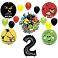 Angry Birds 2nd Birthday Party Supplies and Group See-Thru Balloon Decorations