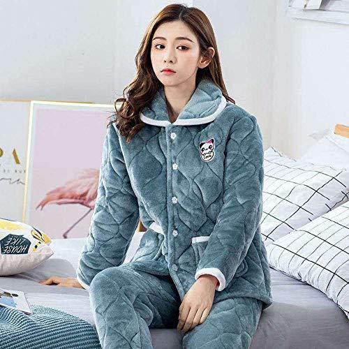 B/H Pijamas Polar Super Suave con Estampado,Pijama cálido Acolchado Grueso de Invierno para Mujer, Pure_55-65kg,Pijamas de Franela Suave Cálida Ropa