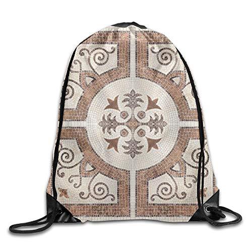 FULIYA Decorative Ceramic Tiles Patterns Texture Background In The Park Public Drawstring Bags Running Gym Backpack Drawstring Shoulder Bag Backpack String Bags