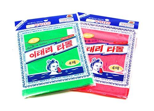 Italy Towel 8 Pcs Asian Exfoliating Bath Washcloth - Red & Green