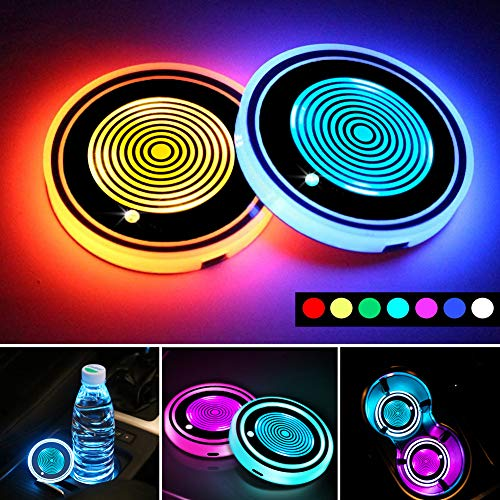 LED Car Cup Holder Lights,7 Colors Changing USB Charging Mat Waterproof Cup Pad,LED Interior Atmosphere Lamp Decoration Light Car Accessories (2pcs) (4 Rings)