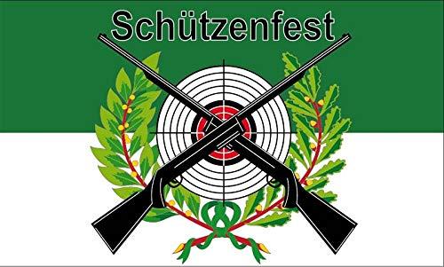 Fanshop Lünen Fahne - Flagge - Schützenfest mit Scheibe - Gewehr - Schützen - Scheibe - Schützenfest - 90x150 cm - Hissfahne mit Ösen -