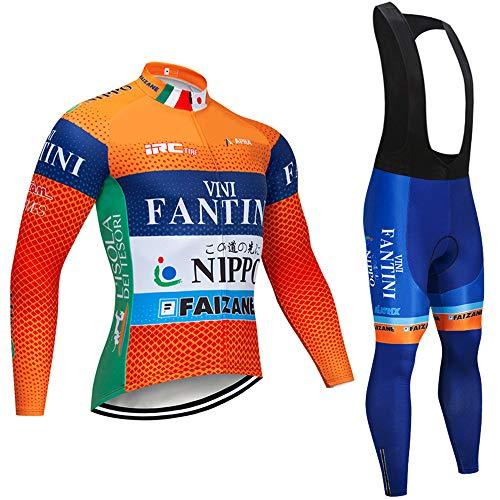 MTBHW Primavera/otoño Maillot de Ciclismo para Hombre Conjunto, para Bicicleta de montaña, Ciclismo de Carretera y Pantalones Acolchados